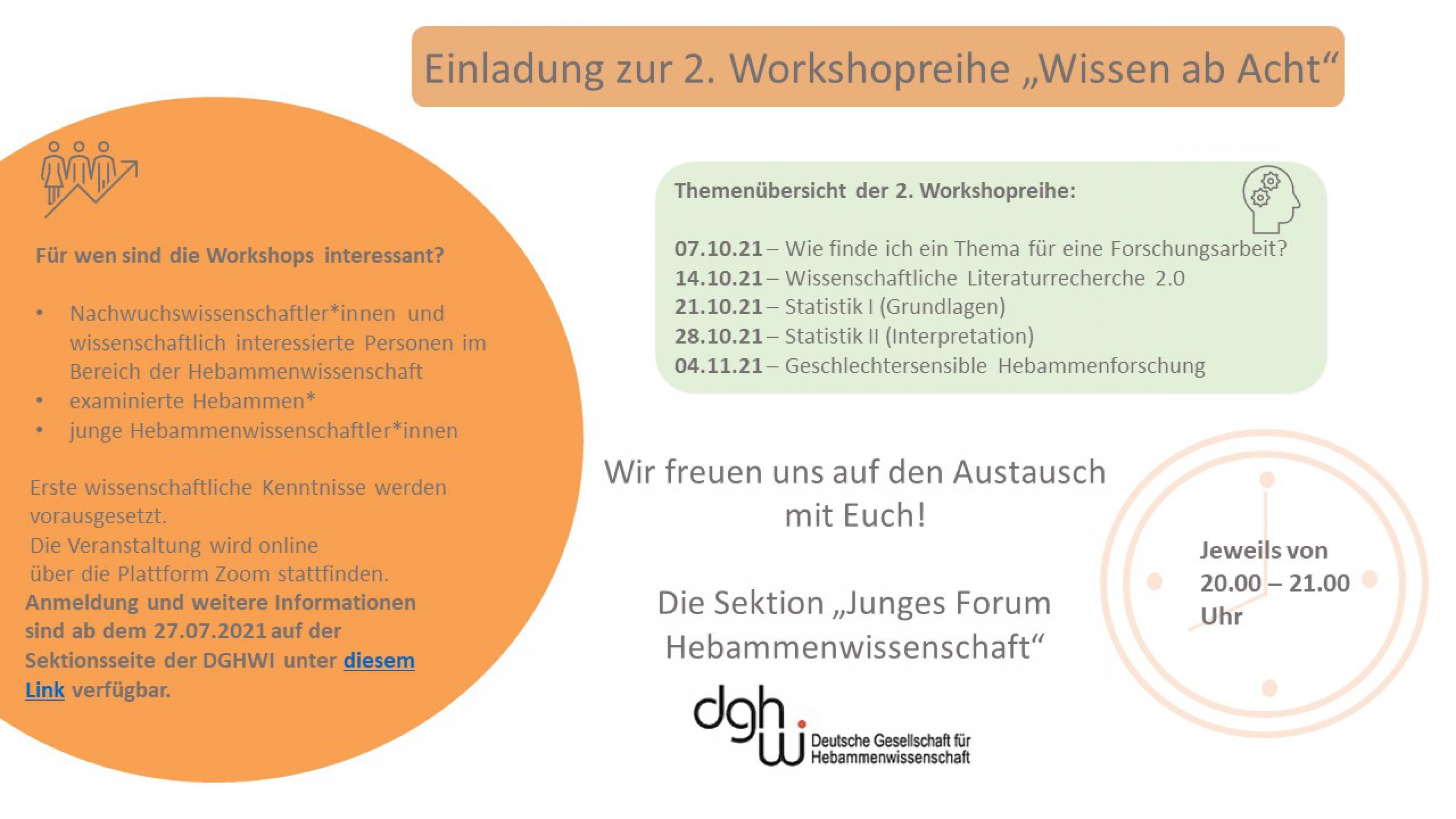 """Workshopreihe """"Wissen ab Acht"""" - Oktober 2021"""